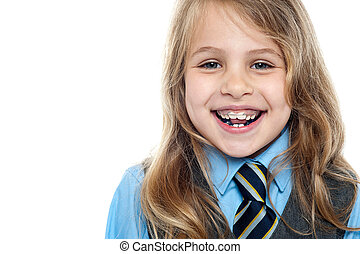 Cheerful school girl, closeup shot