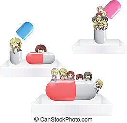 Kids with pill on white shelves. Vector design.