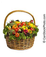 籃子, 巨大, 白色, 蔬菜, 被隔离