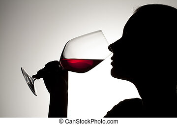 human drinking red wine