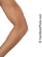 human elbow - Close up image of human elbow against white...