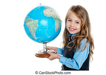 Beautiful school going kid holding globe - Pretty school...