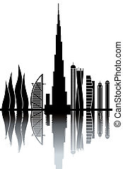 Dubai skyline - black and white vector illustration