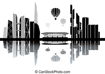 Seoul skyline - black and white vector illustration
