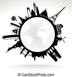 planet earth - black and white vector illustration