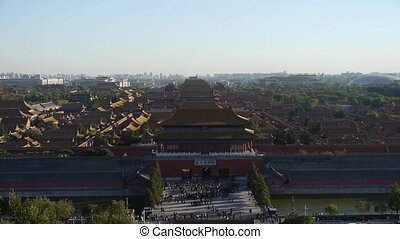 Panoramic of Many tourists people at China ancient...