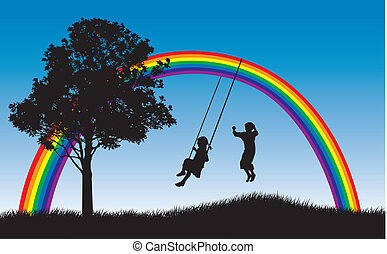 Kids playing under rainbow - Girl swinging and boy jumping...