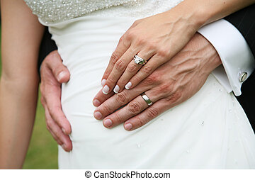Wedding Rings - Bride and Groom's hands with wedding rings