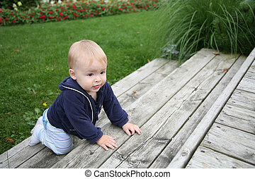 Baby crawling outside - baby is crawling and climbing the...