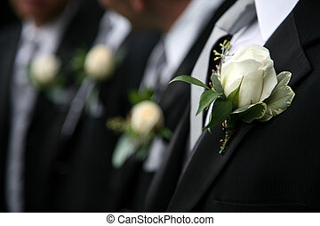 Boutonnieres on Suits - Boutonnieres on black Suits of men
