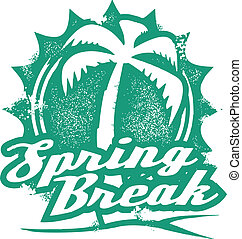 Spring Break Vacation Stamp - A rubber stamp style...
