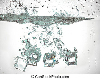 ice cube dropped under the water - Close-up image of a...