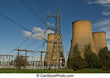 Power station infrastructure - The cooling towers of a power...