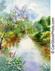 Watercolor Landscape Collection: Village Life background,...