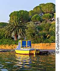 yellow wooden fishing boats on row corfu greece