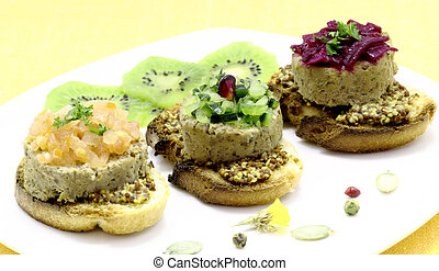 Liver pate pieces - Liver pate served with pieces of chopped...