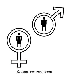 Male and female signs isolated on white background.