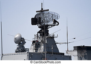 Radar of military ship - Radar of modern military ship