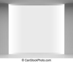 Empty white store interior with showcase - Empty white store...