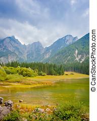 Fusine lake - Fusine superior lake in the giulian alpes,...