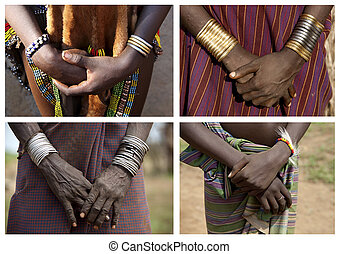 Hands of the Ethiopian women from a tribe of Desanech....