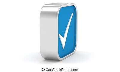 Dark Blue Tick Sign - Dark Blue tick sign on a white...