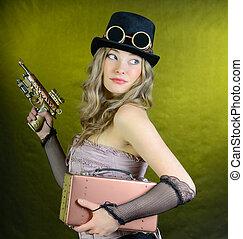 Steampunk, mujer, arma de fuego