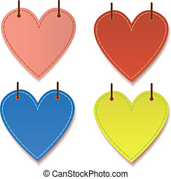 Paper hearts hanging with drop shadow graphic vector for...