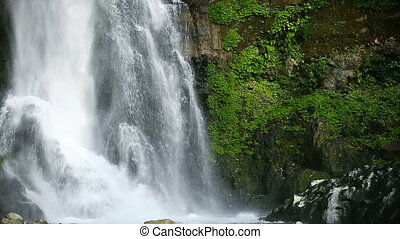 big tropical waterfall - falling water in big tropical...