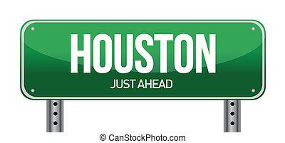 Road sign Houston illustration design over a white...
