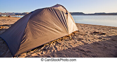 Camping on beach - tent camping on the beach of lake powell...