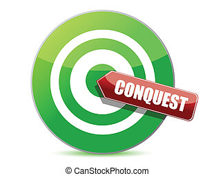 green conquest darts target aim on white background