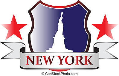 New York Crest - New York city freedom statue symbol stamp