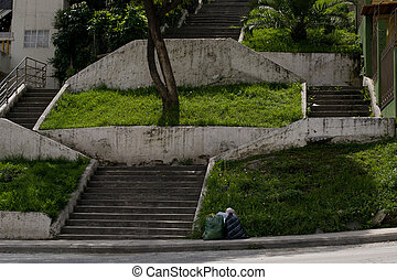 Concrete stairs - Concrete or cement stairs,garbage on steps