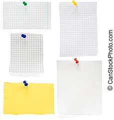 pushpin and checked note paper - pushpin and checked note...