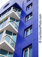 Blue house facade - Architecture forms in blue color