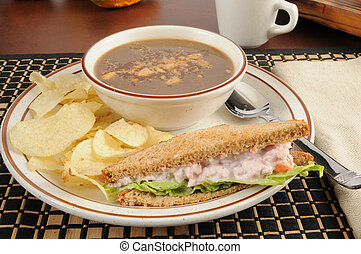 Ham salad sandwich with onion soup - A deviled ham sandwich...