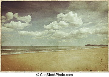 Old postcard style, Beach - Old postcard style, Rimini Beach