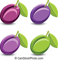 Plums - Set of vector plums