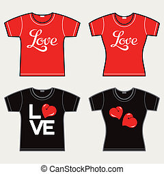 T-shirts with an inscription Love, vector illustration