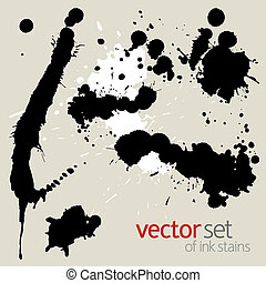 Vector ink stains - Black ink stains, vector illustration