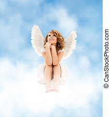angel girl - picture of happy teenage angel girl