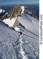 Climbers at mountains - Climbers reaching the summit at Alps
