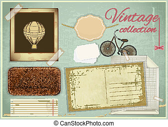 scrapbooking set - old paper, photo fram - Vintage...