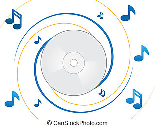 CD and notes - CD and music notes spiral