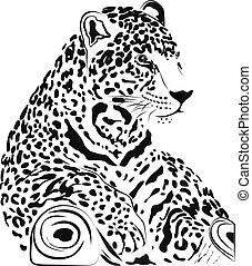 Jaguar  - Black and white jaguar illustration