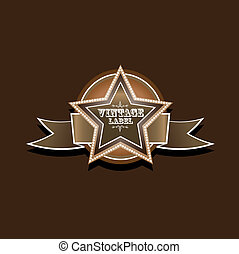 vector vintage star label retro style royal luxury icon