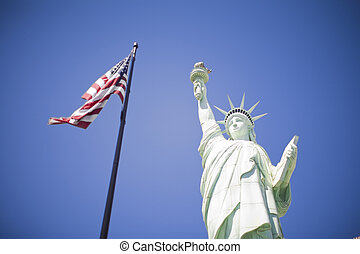 Statue of Liberty - Low-angle view of Statue of Liberty next...