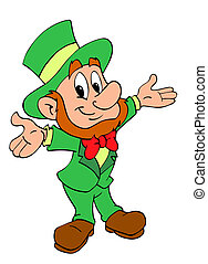 St. Patrick's Day Leprechaun - Hand drawn cartoon of a cute...