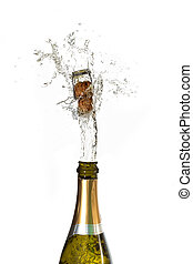Champagne cork popping on white background